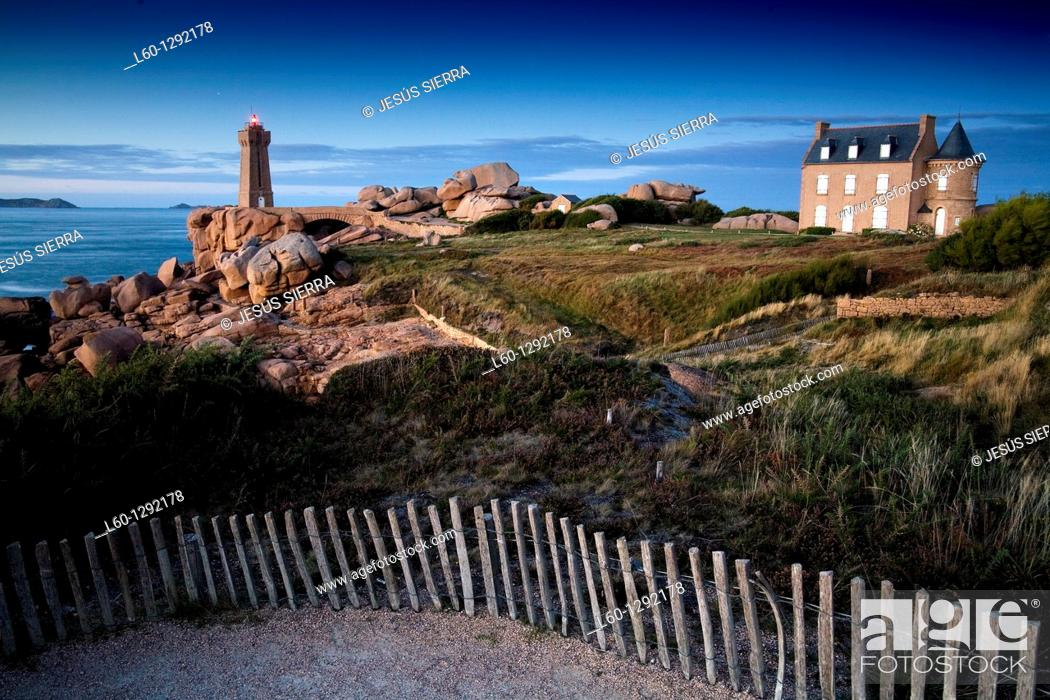 Stock Photo: lighthouse Ploumanac'h, Cotes d'Armor, Brittany France.