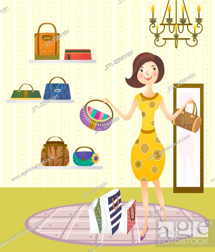 Stock Photo: Woman in handbag shop, portrait.