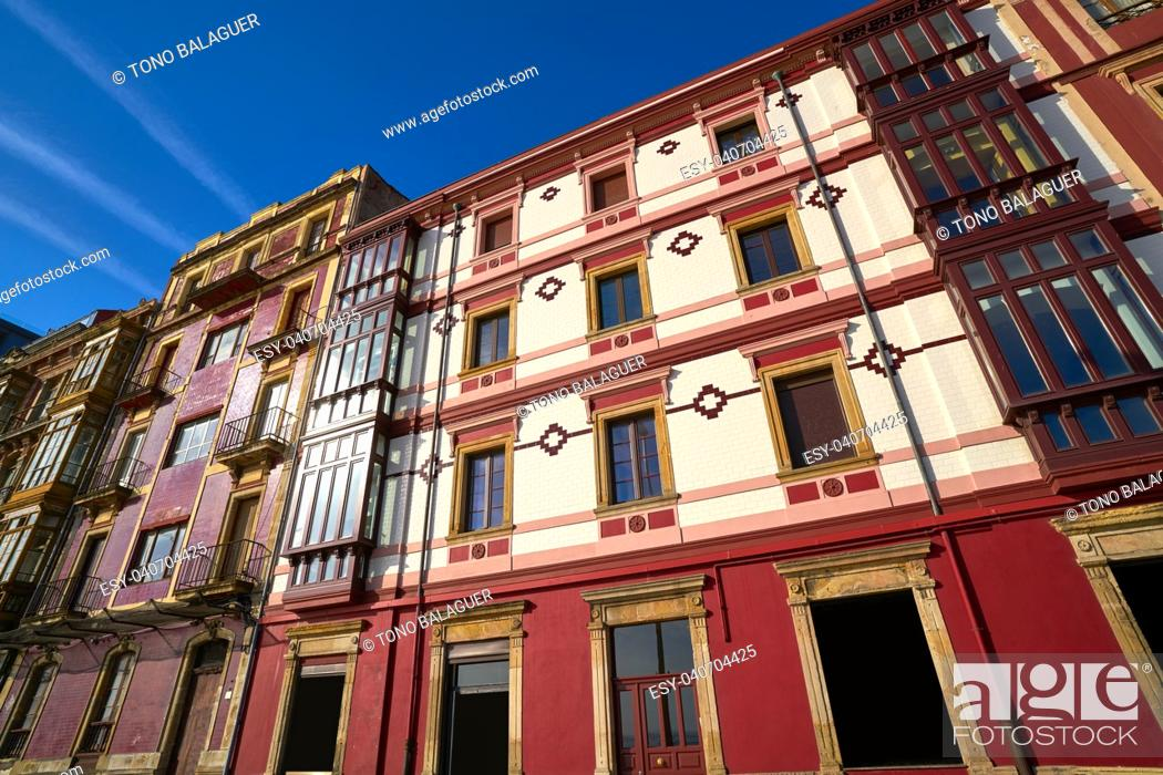Stock Photo: Gijon city facades of Asturias in Spain.