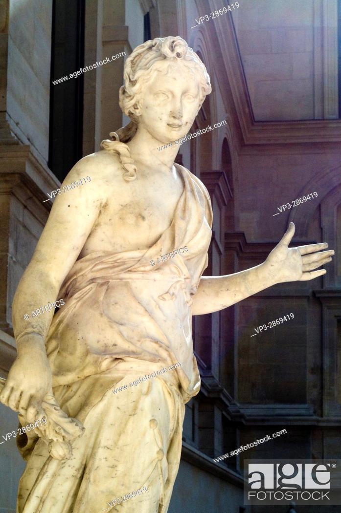 Stock Photo: Simon Mazière. Compagne de Diane - Companion of Diana. XVIII th Century. Marble. French sculpture department - Cour Marly. Louvre Museum - Paris.
