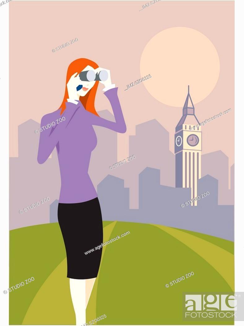 Stock Photo: Woman with binoculars standing in front of Big Ben.