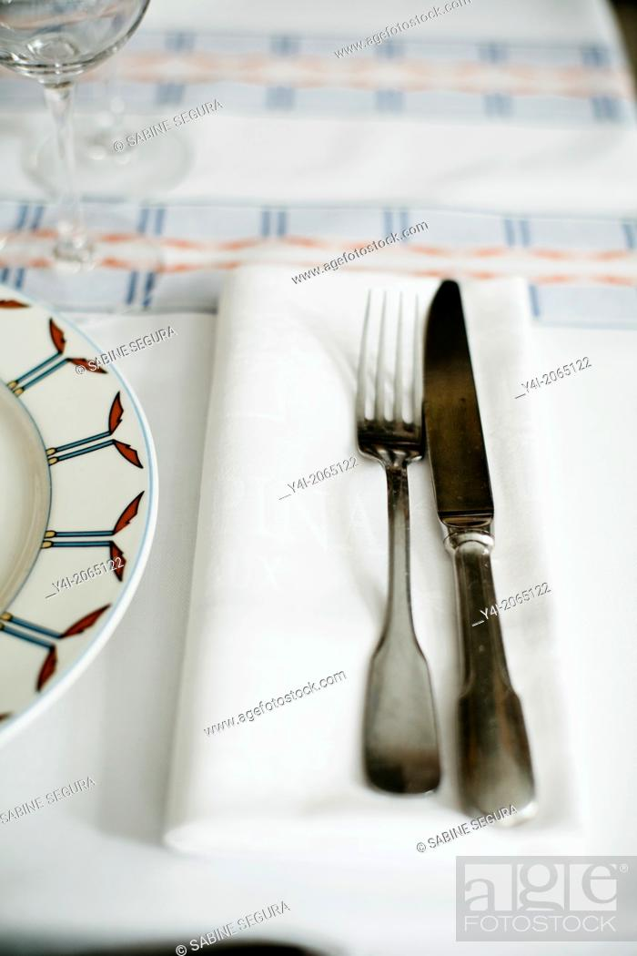 Stock Photo: Napkin, knife and fork in Le Comestible. French restaurant in Bordeaux. Bordeaux. Gironde. Aquitaine. France. Europe.