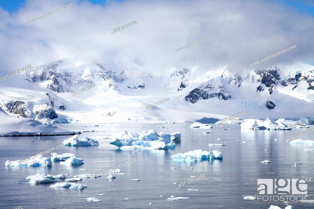 Imagen: Icebergs and mountains of Cuverville Island near Antarctic Peninsula, Antarctica.