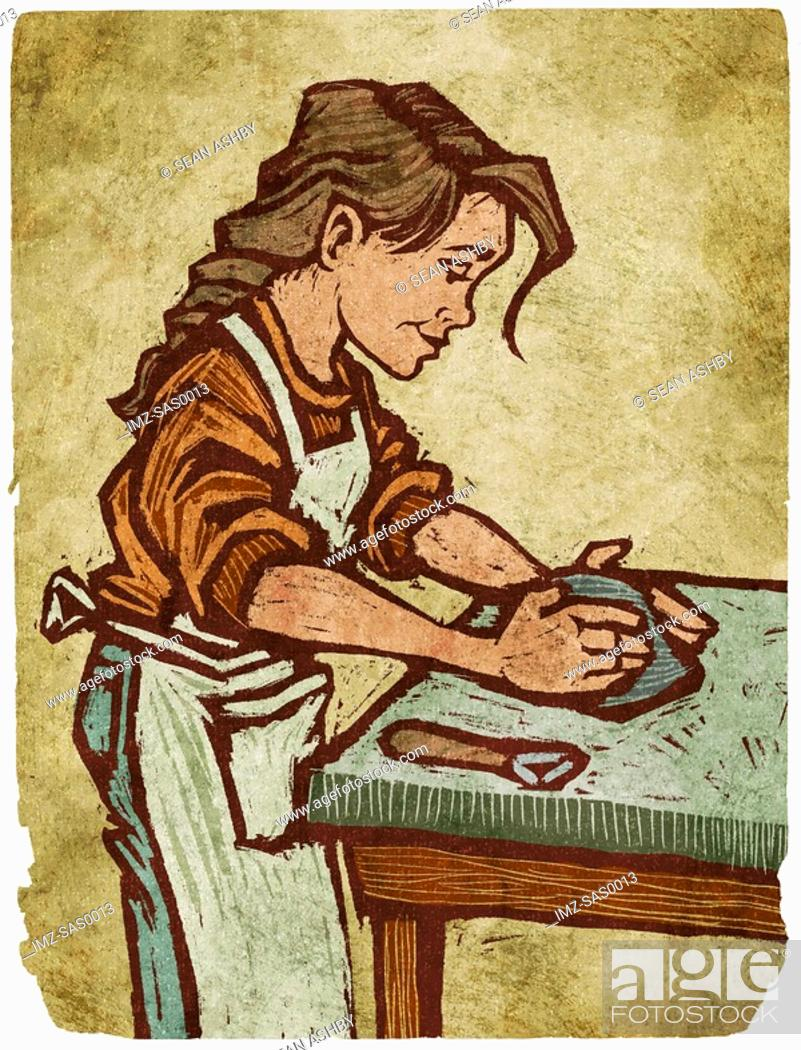 Stock Photo: A woman working with clay.