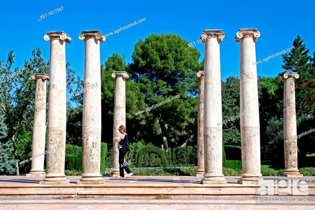 Stock Photo: columns, amphitheater, Joan Maragall Gardens, Montjuic, Barcelona, Catalonia, Spain.