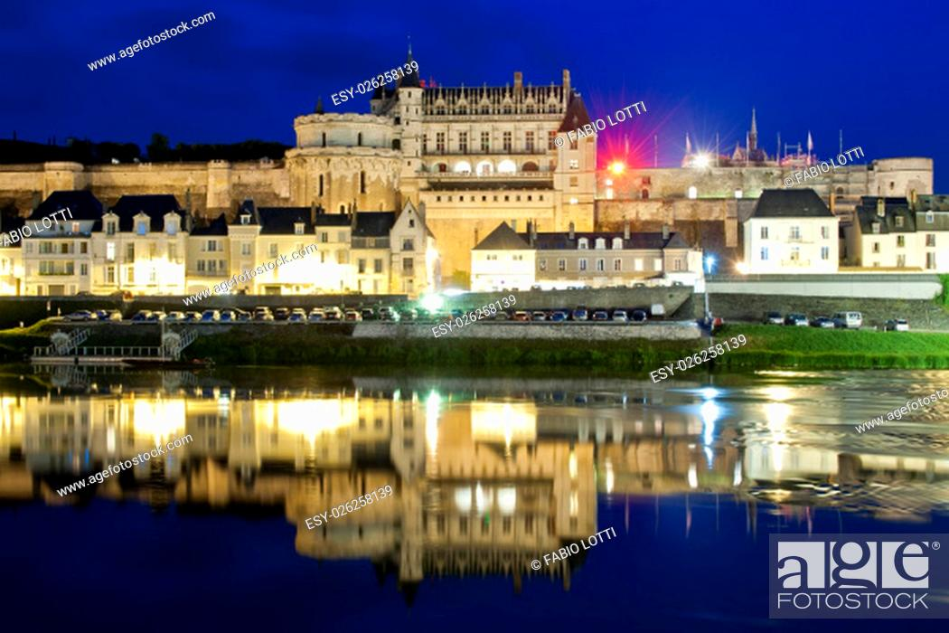 Stock Photo: The chateau d'Amboise reflecting in the Loire river, at the blue hour.