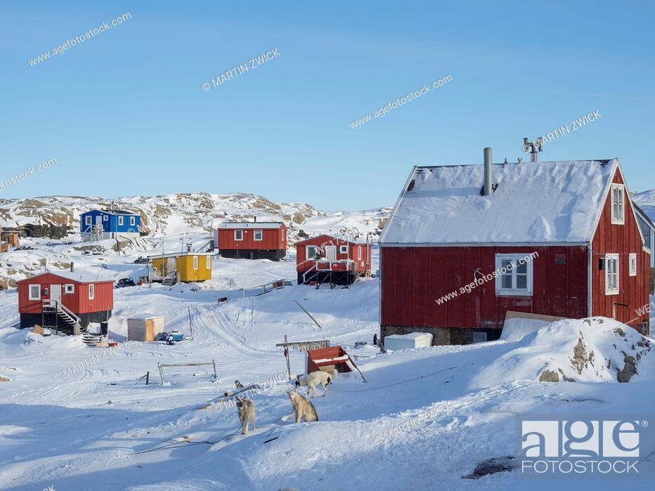 Stock Photo: The fishing village Saatut during winter in the Uummannaq fjordsystem north of the polar circle. America, North America, Greenland, Denmark.