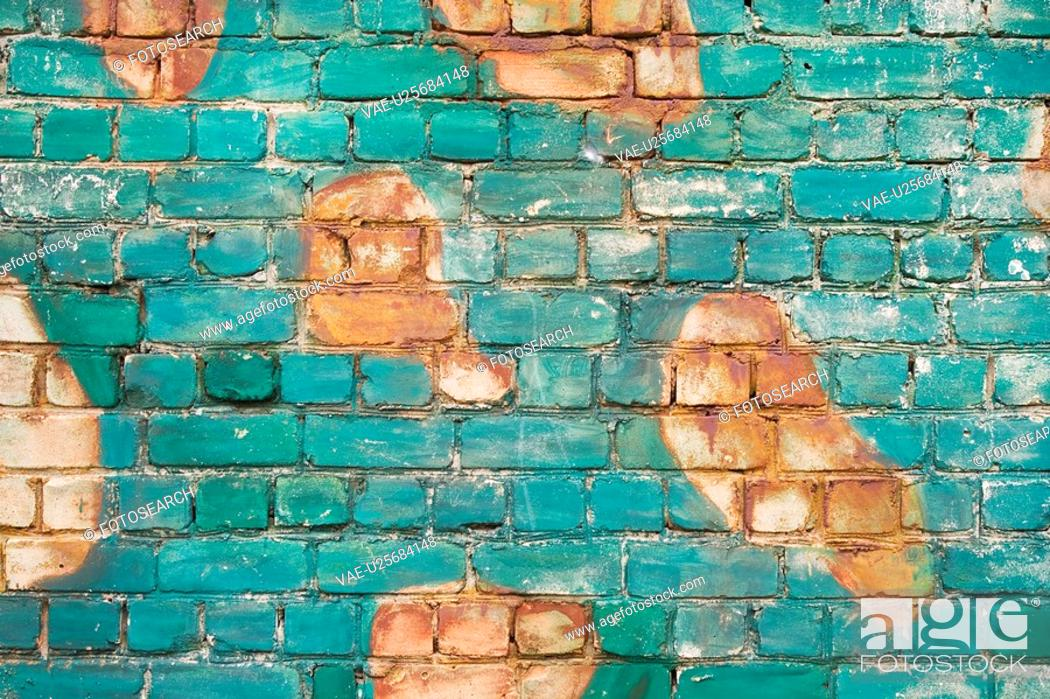 Stock Photo: Background, Brick, Close-Up, Day, Discolored.
