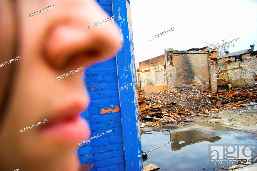 Stock Photo: Burnt Down Factory Building.