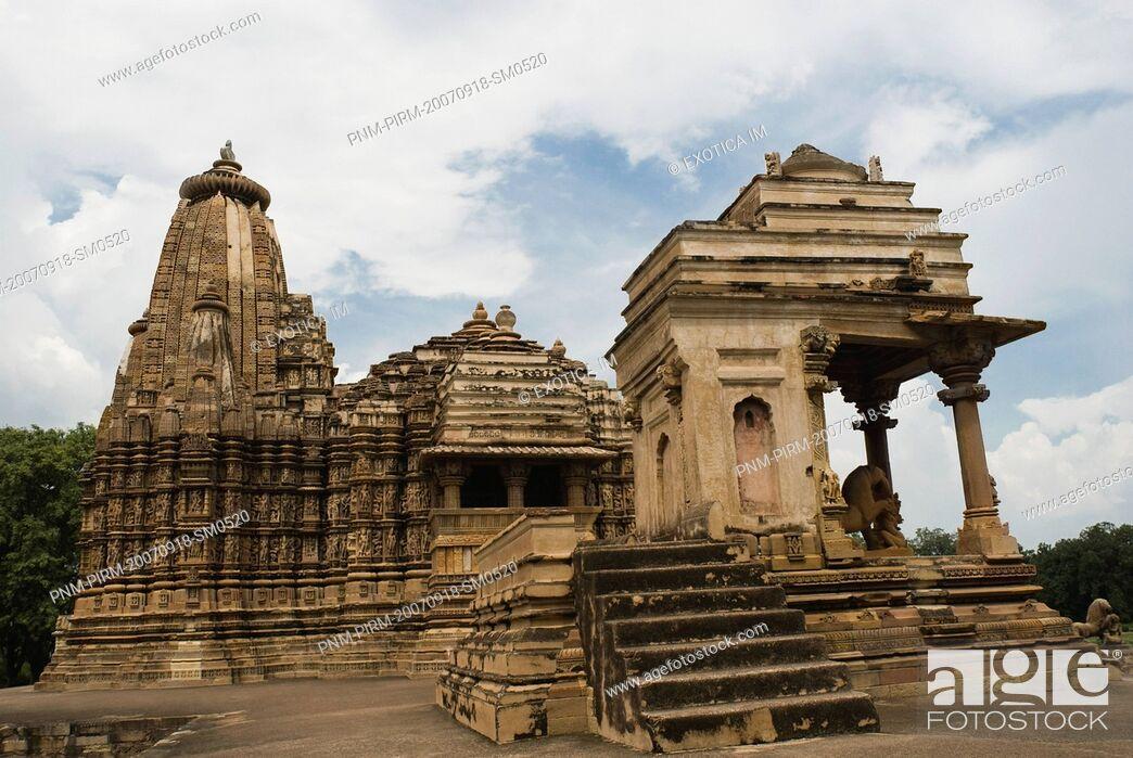 Stock Photo: Architectural details of a temple, Khajuraho, Chhatarpur District, Madhya Pradesh, India.
