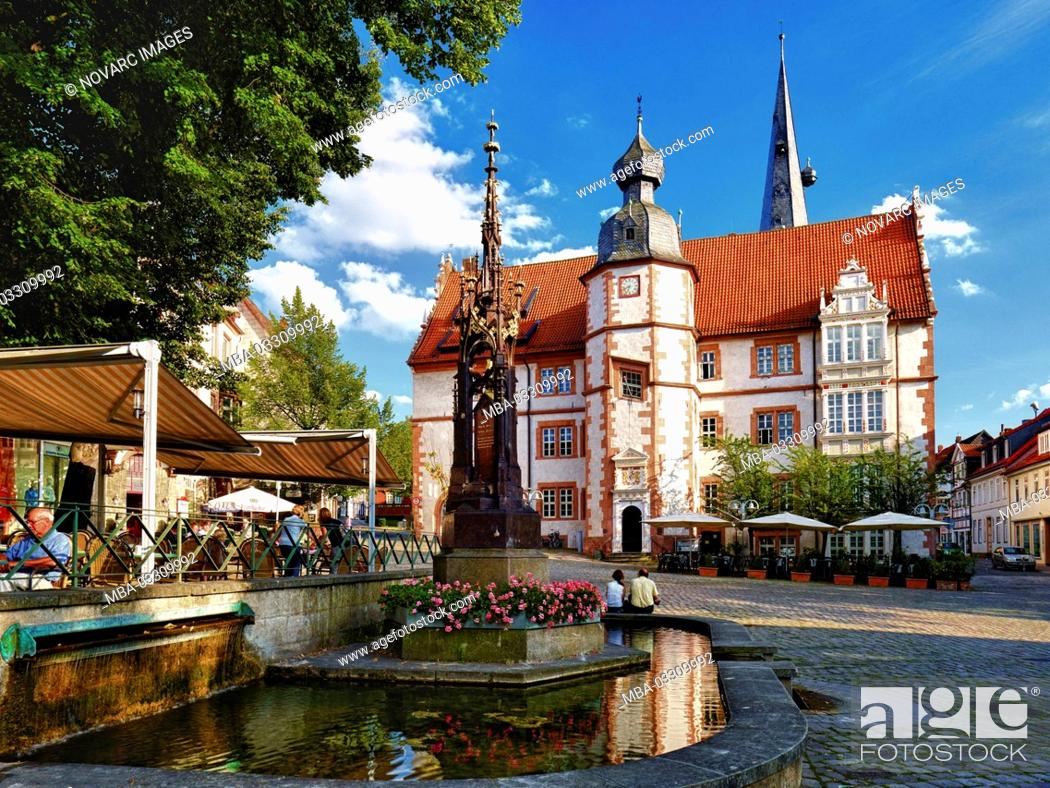 Stock Photo: Town hall at the market in Alfeld / Leine, Hildesheim district, Lower Saxony, Germany,.