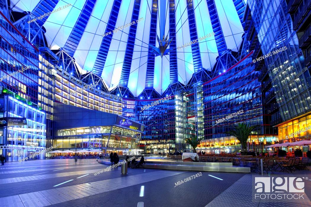 Stock Photo: Colorfully Illuminated Awnings, Dome, Sony Center, Festival of Lights, Berlin, Germany, Europe.