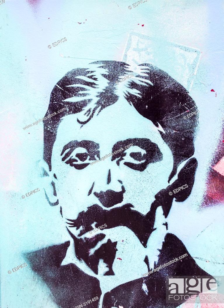 Stock Photo: stencil portrait of french writer marcel proust, paris, ile de france, france.