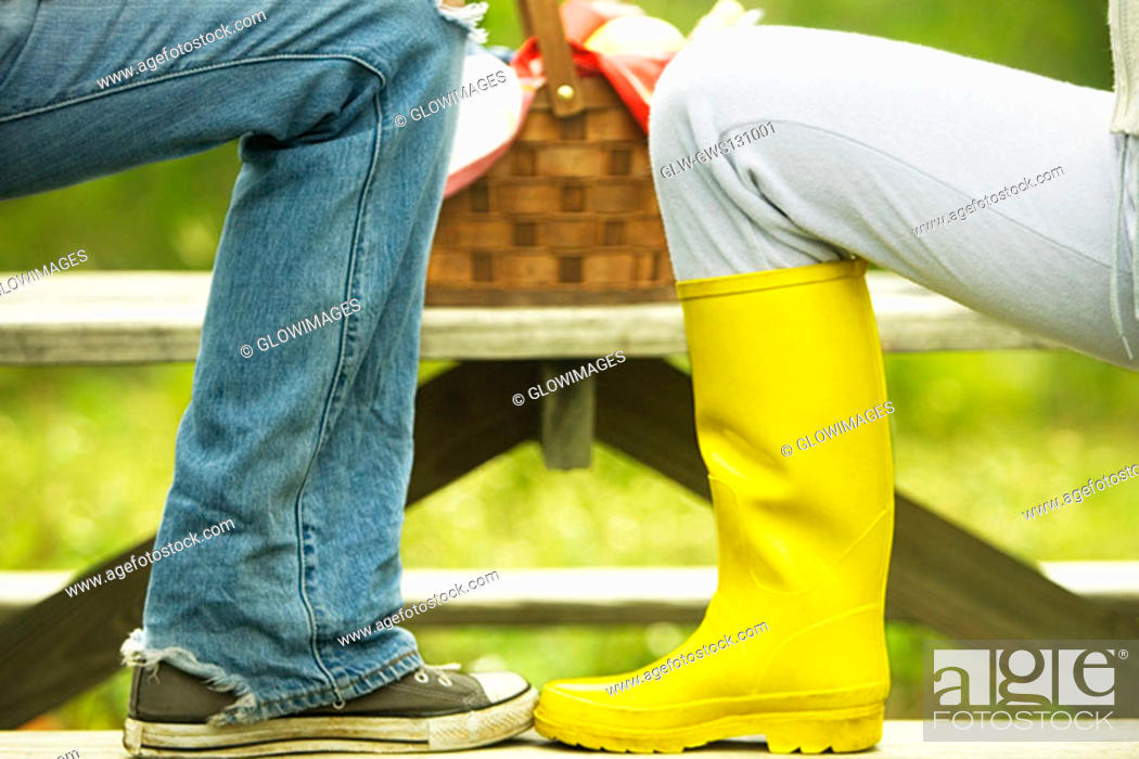 Stock Photo: Close-up of two human legs.