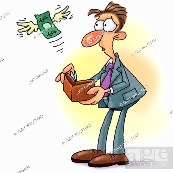 Stock Photo: A picture of money flying out of mans wallet.