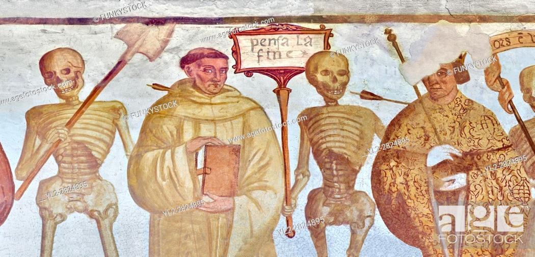 "Stock Photo: The Church of San Vigilio in Pinzolo and its fresco paintings ""Dance of Death"" painted by Simone Baschenis of Averaria in1539, Pinzolo, Trentino, Italy."
