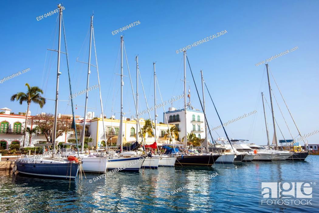 Stock Photo: Puerto de Mogan marina, small fishing port, famous touristic destination in Grand Canary, Canary islands, Spain .