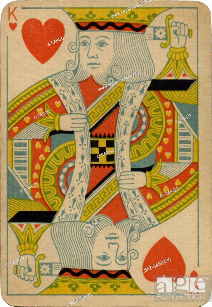Stock Photo: King of Hearts vintage playing card.