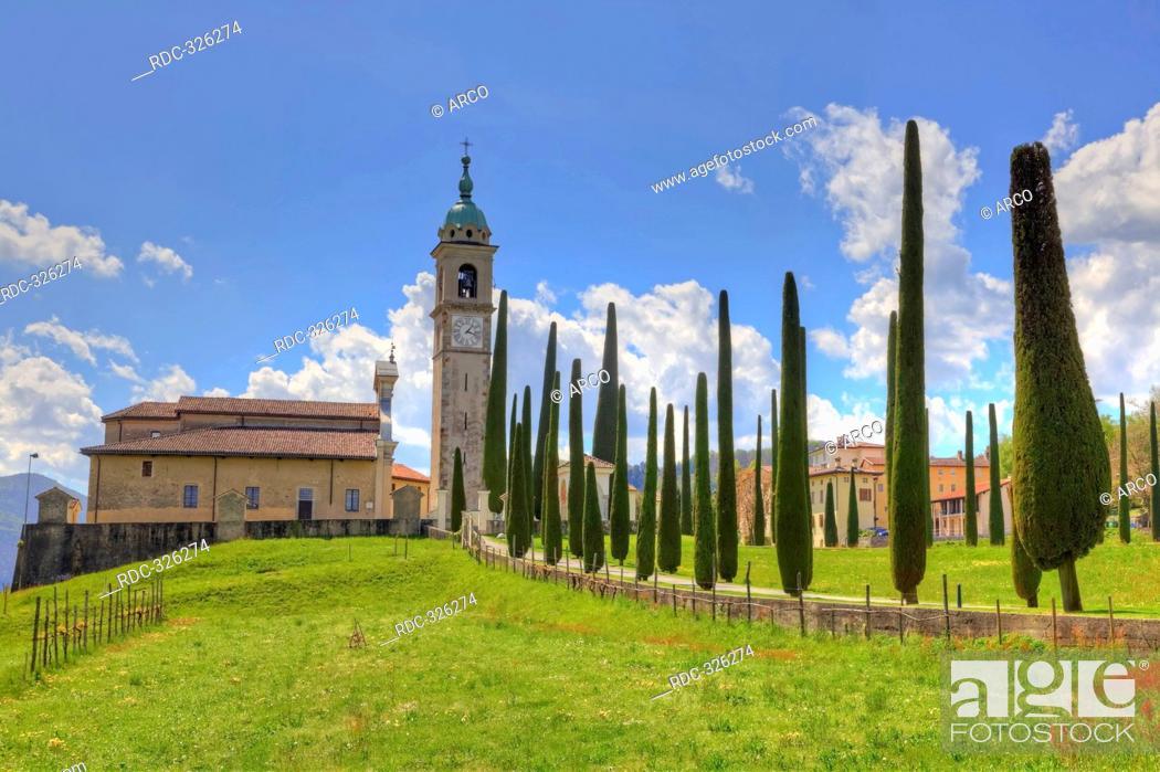 Imagen: Parish church Sant' Abbondio, Montagnola, Gentilino, Collina d'Oro, Ticino, Switzerland / Cypress Avenue, Sant Abbondio.