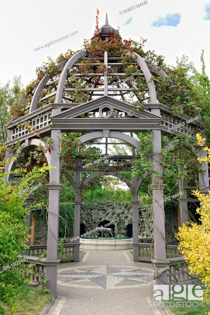Stock Photo: Gazebo, steel structure, Italian Renaissance Garden, Hamilton Gardens, Hamilton, North Island, New Zealand.