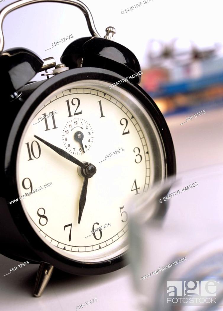 Stock Photo: black alarmclock.