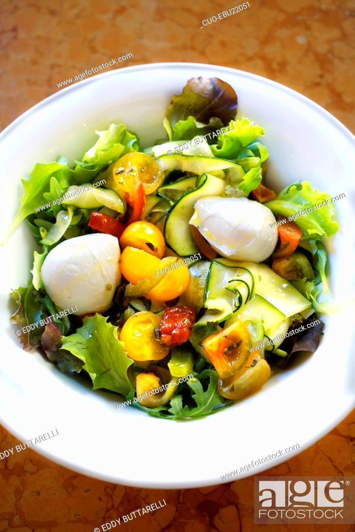 Stock Photo: Mixed salad, tomatoes, courgettes, mozzarella cheese, extra virgin olive oil, Milan, Lombardy, Italy, Europe.
