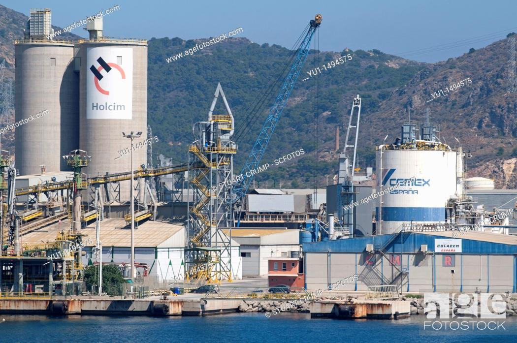 Stock Photo: Cartagena large Oil Refinery on the coastline at Cartagena in the region of Murcia, South Eastern Spain.