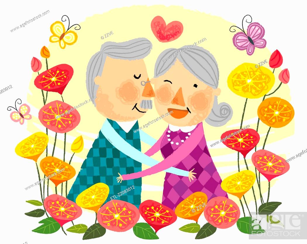Stock Photo: Elderly couple expressing love.
