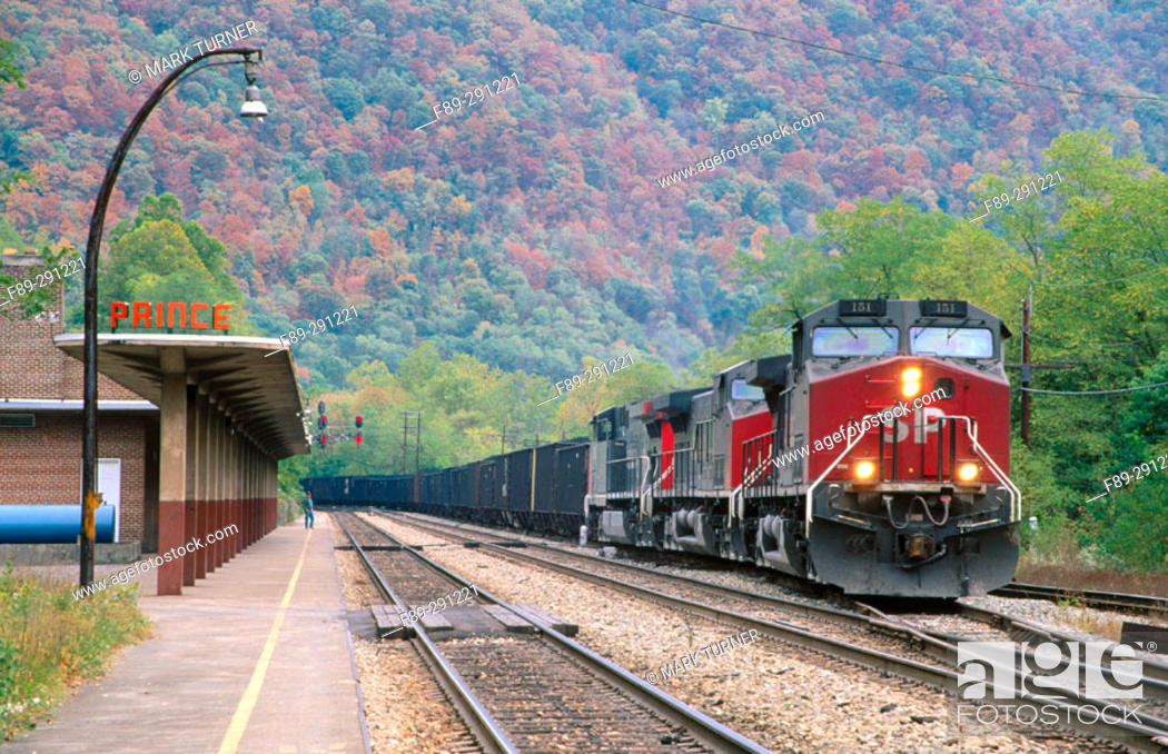 Stock Photo: Coal train in Prince Station. West Virginia, USA.