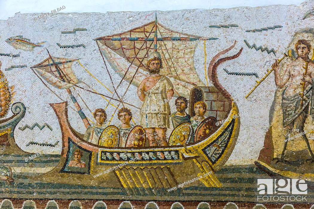 Stock Photo: Roman mosaic of Ulysses resisting the songs of the Sirens. Bardo National Museum. Tunis city. Tunisia, Africa.