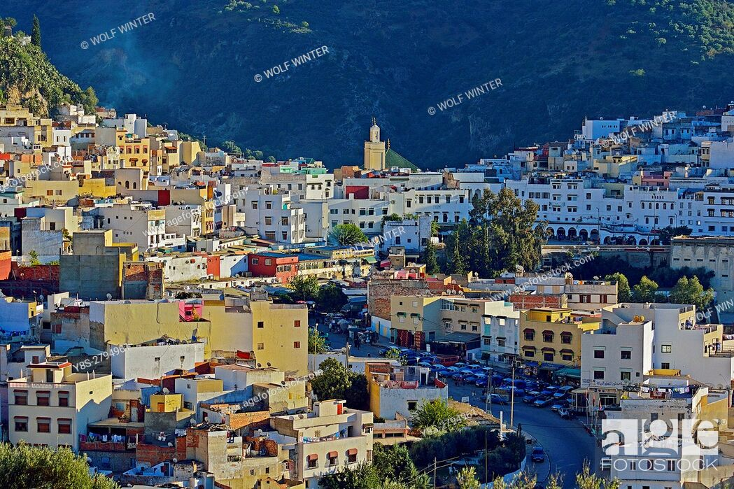 Stock Photo: Sacred City Moulay Idris, Zerhoun Mountains, Middle Atlas, Morocco.