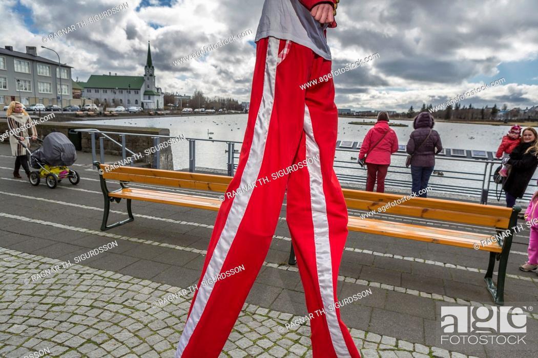 Stock Photo: Walking on Stilts, Children's Cultural Festival, Reykjavik, Iceland.