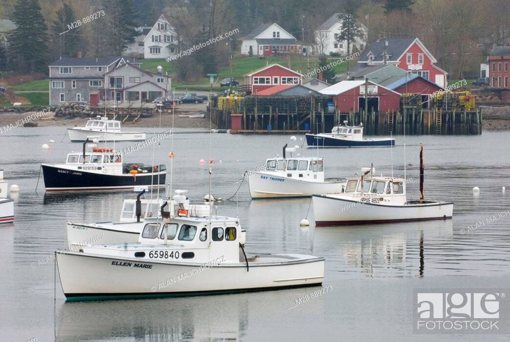 Stock Photo: Lobster boats moored in Bass Harbor, Mount Desert Island Maine, USA.