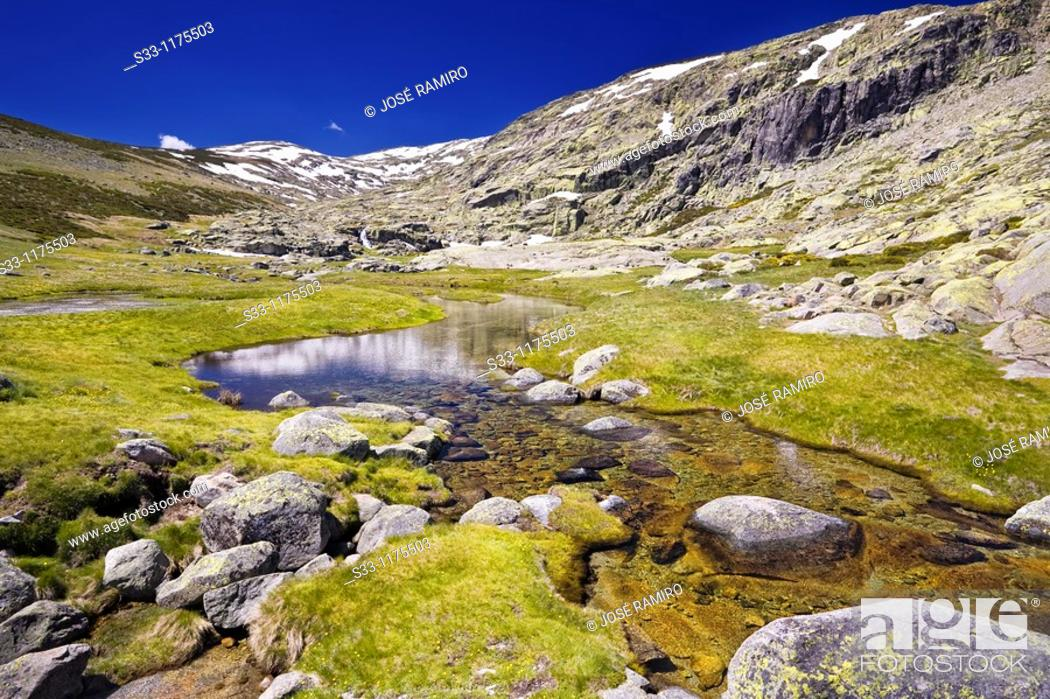 Stock Photo: Pozas river in the Sierra de Gredos Castilla León Spain.