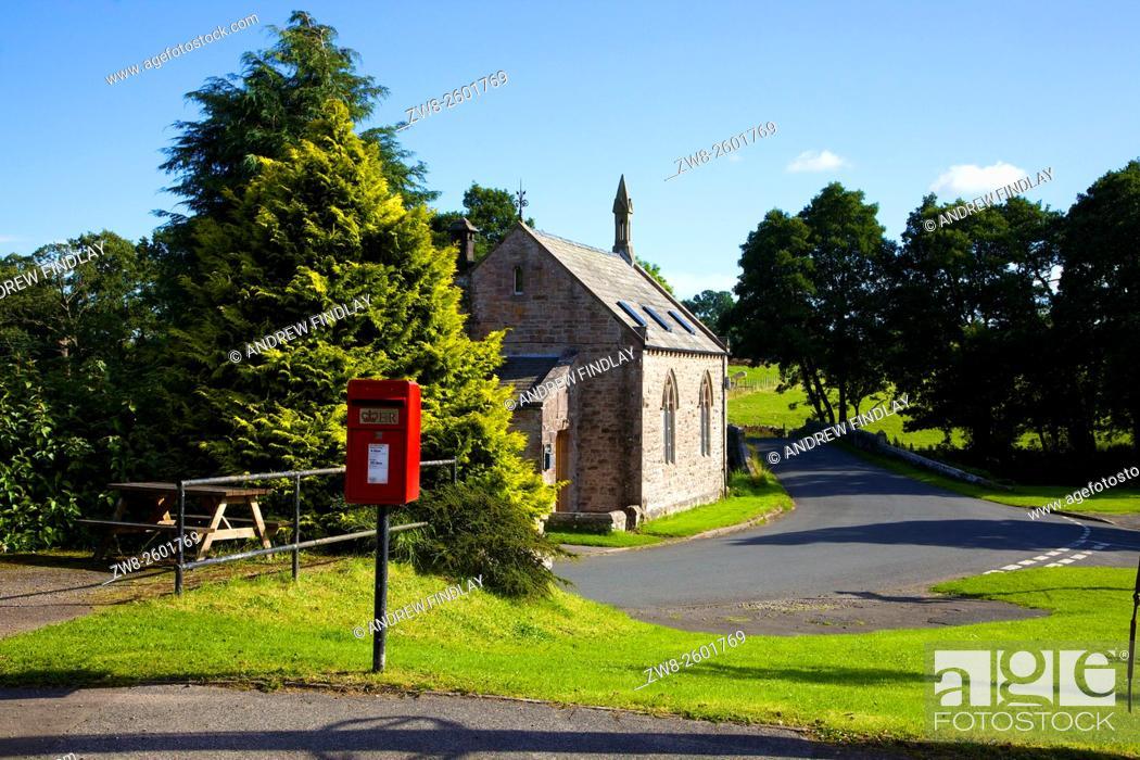 Stock Photo: Red post Lamp box on a pole. Blencow, Cumbria, England, United Kingdom.