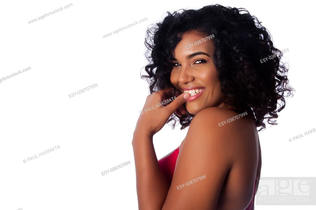 Stock Photo: Beautiful face of smiling woman with curly hair on white.