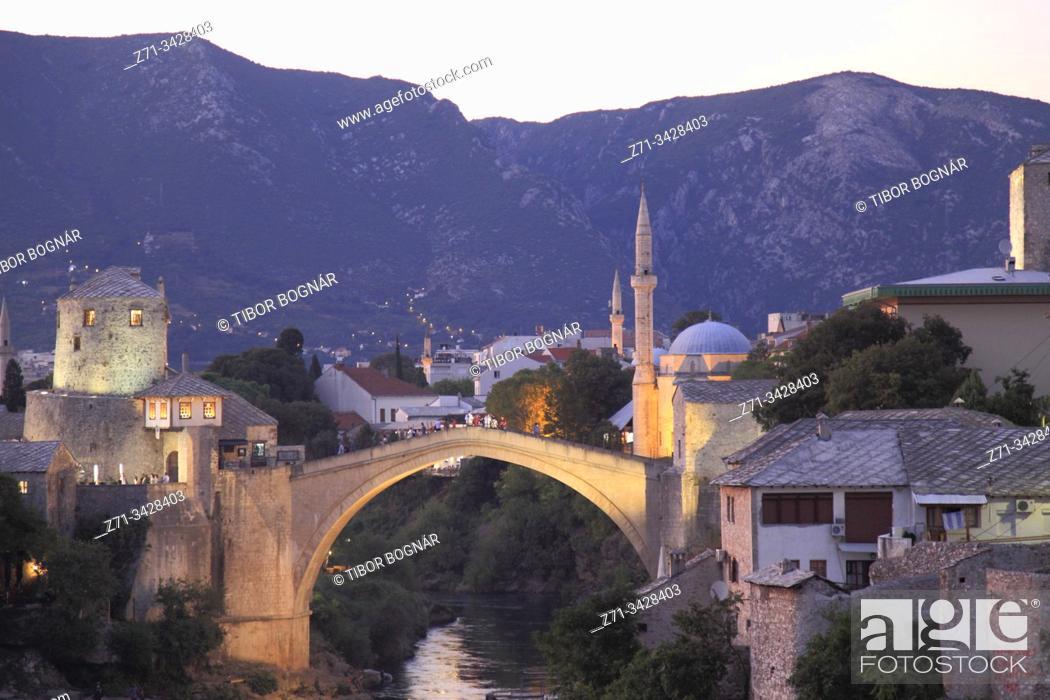 Stock Photo: Bosnia and Herzegovina, Mostar, Old Bridge, Neretva River, night.