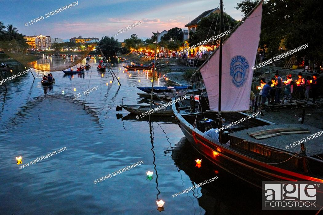 Stock Photo: Full Moon Lantern Festival on the Thu Bon River. Hoi An, Quang Nam Province, Vietnam.