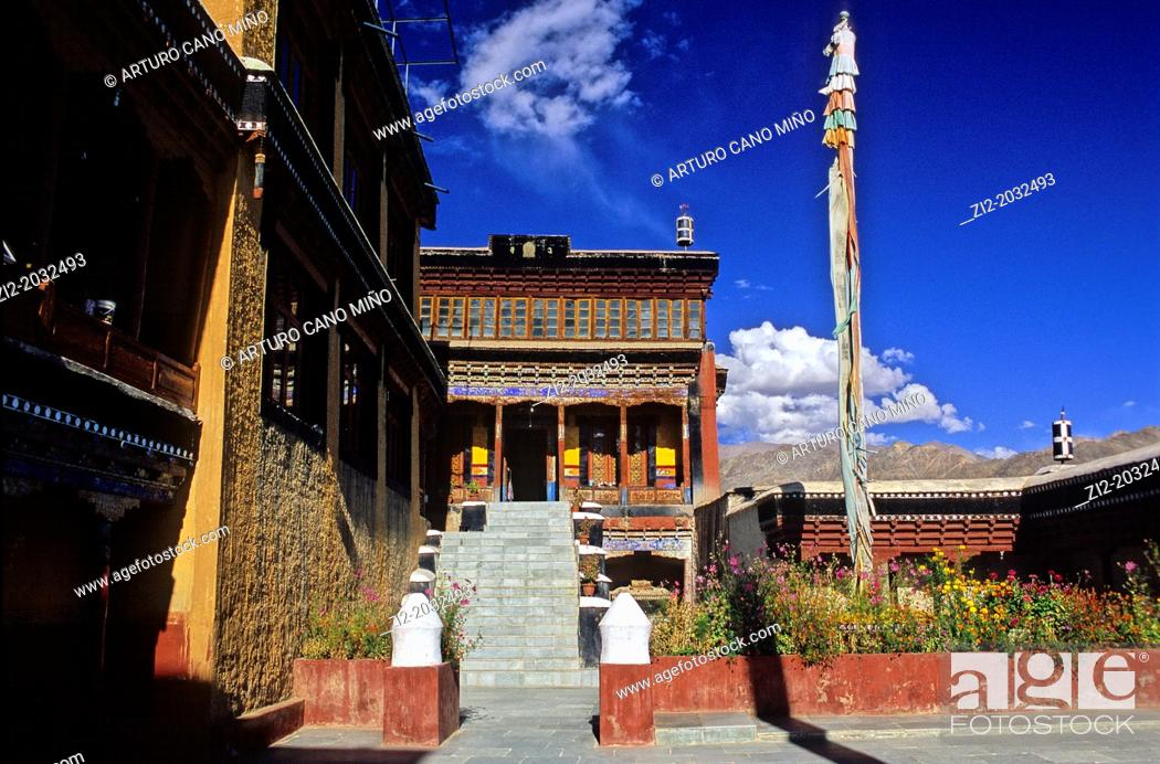 Stock Photo: Buddhist monastery in the Indus valley, Ladakh, Jammu and Kashmir state, India.