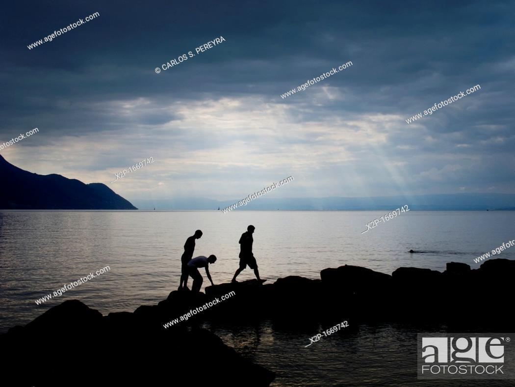Stock Photo: Lac Leman, Leman lake-, Switzerland and France, Europe.