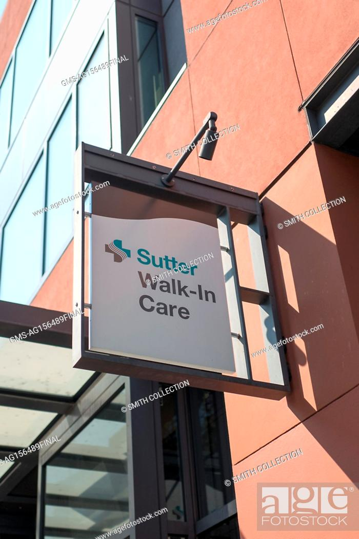 Close-up of sign for an urgent care center operated by the