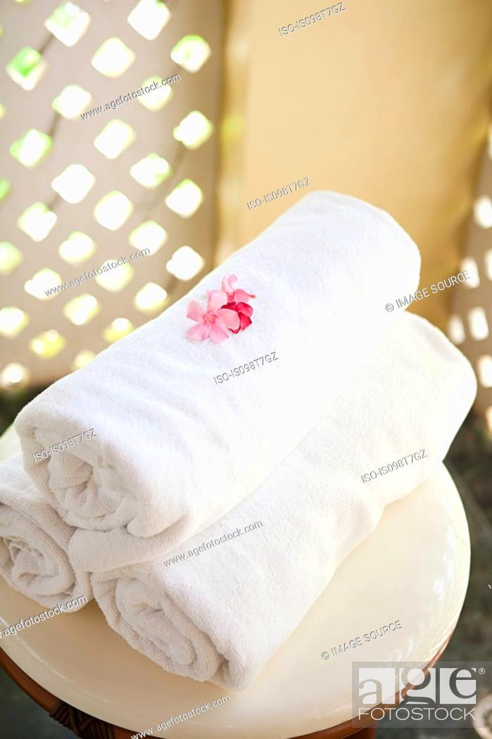 Stock Photo: Towels at a spa.