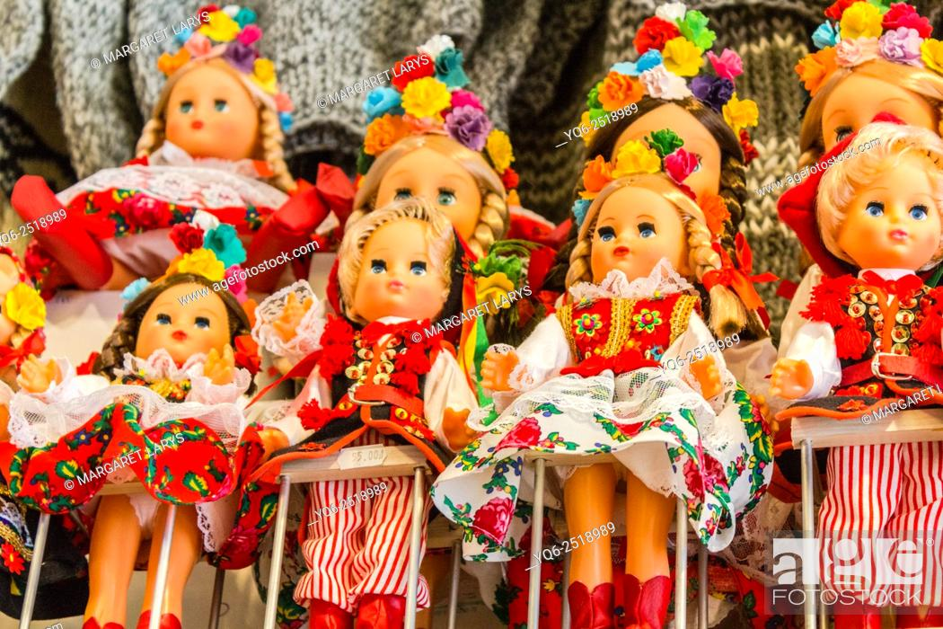 Stock Photo: Dolls for sale wearing national, folk, symbolic and traditional costumes of Krakow, Poland, Europe.