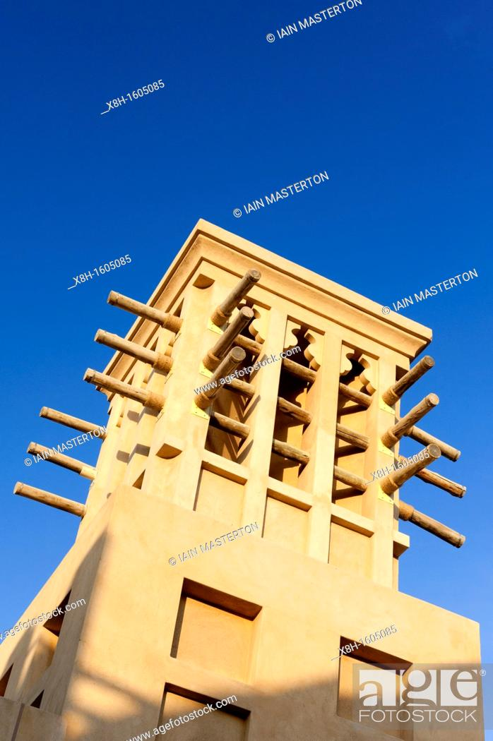 Stock Photo: Traditional architecture at Souq Madinat in Jumeirah district of Dubai in United Arab Emirates.