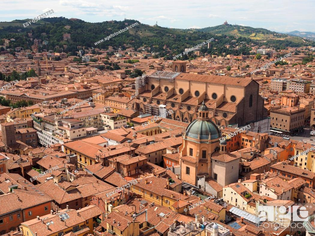 Stock Photo: Aerial view of Piazza Maggiore square and San Petronio church in the city of Bologna, Italy.