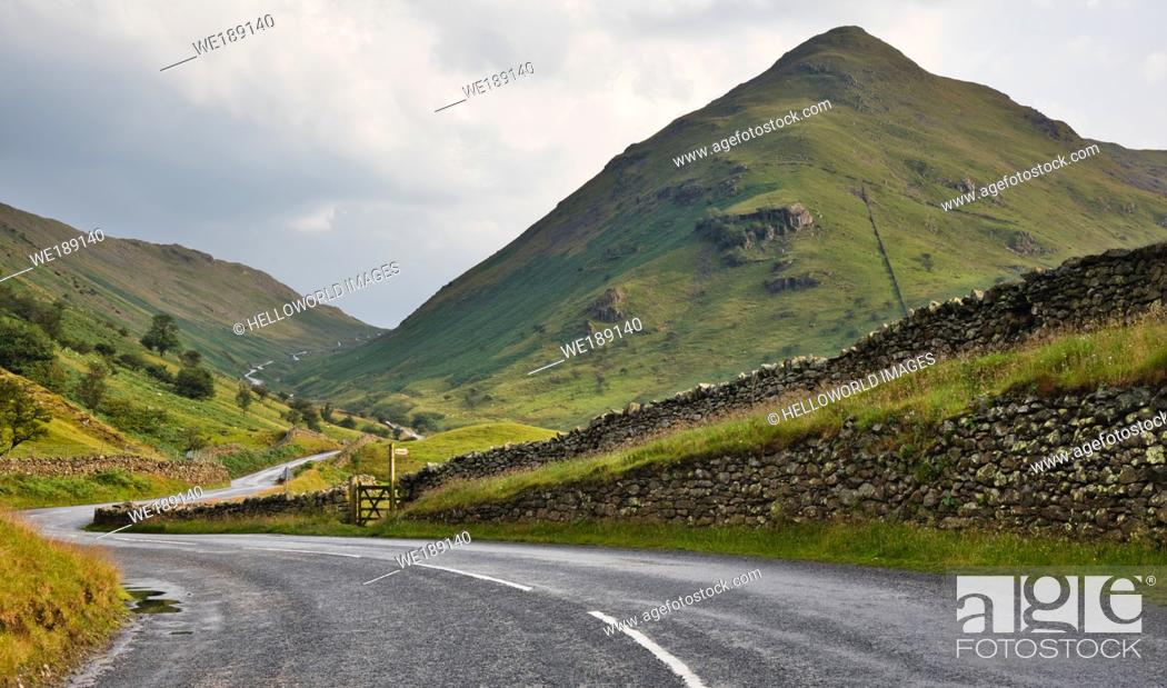 Stock Photo: The Struggle, Kirkstone Pass, Lake District National Park, Cumbria, England. Road leading through the Kirkstone Pass known locally as The Struggle.