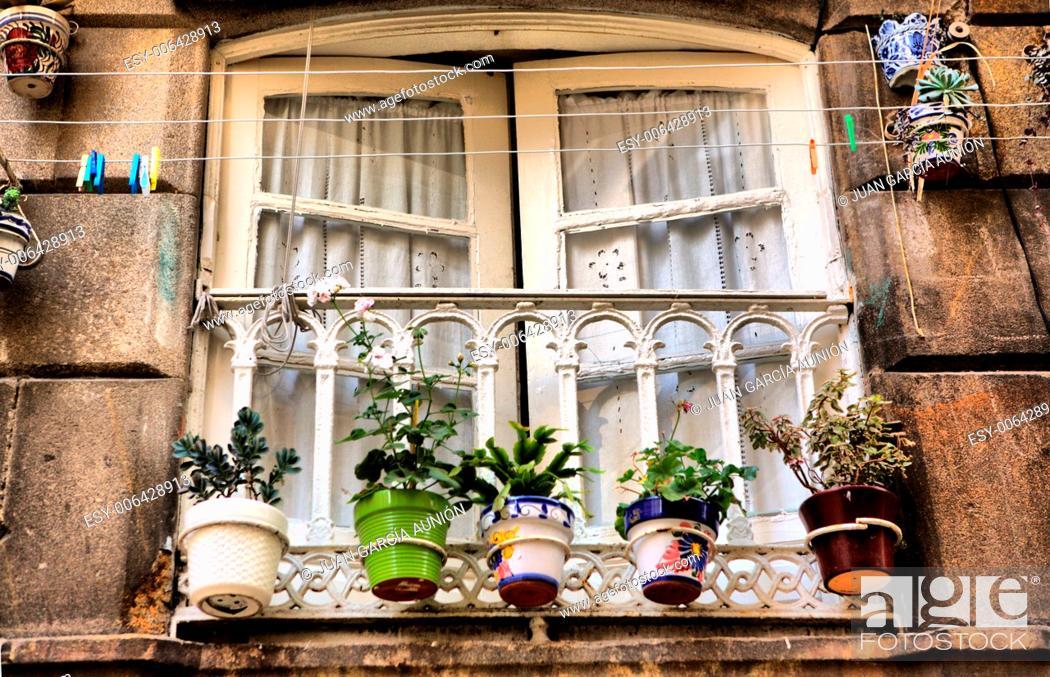 Stock Photo: Typical window of old Vigo downtown, Pontevedra, Spain.