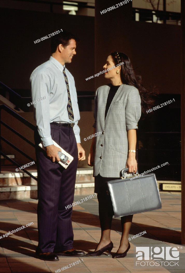 Stock Photo: Business & Profession, Executive, City, Couple, Conversation.