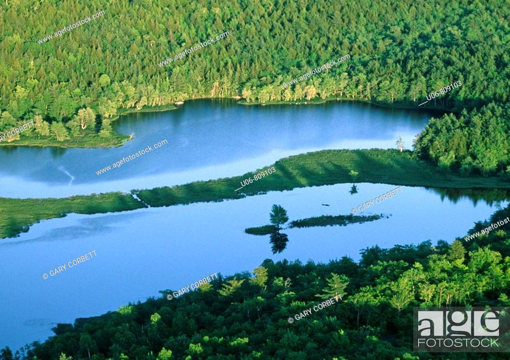 Stock Photo: aerial photo of the mersey river in nova scotia canada.