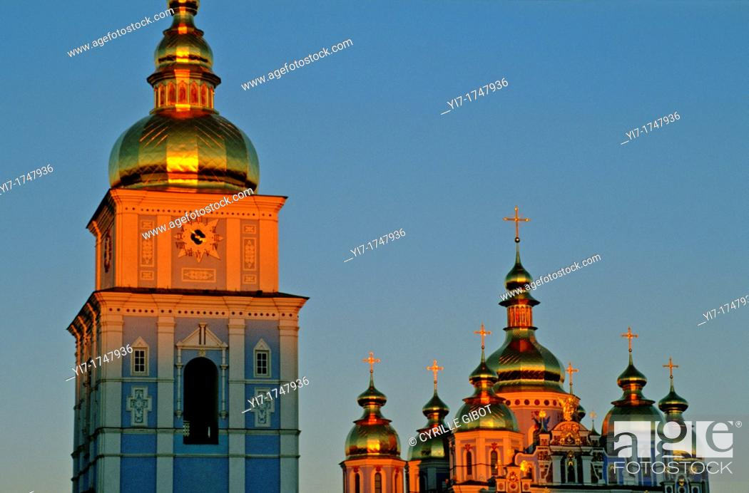 Stock Photo: The domes of St Michael's cathedral at sunset, Kiev, Ukraine.